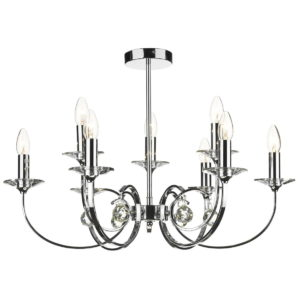 Allegra 9 Light Dual Mount Pendant Polished Chrome
